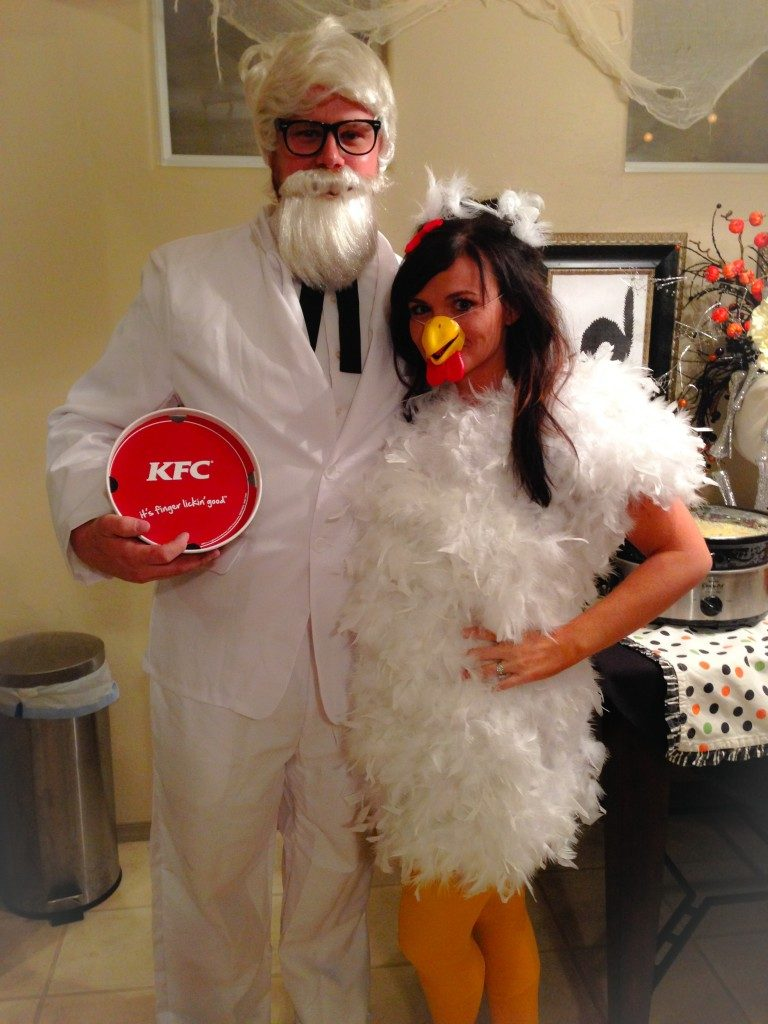 Colonel Sanders and Chicken Halloween costumes for couples