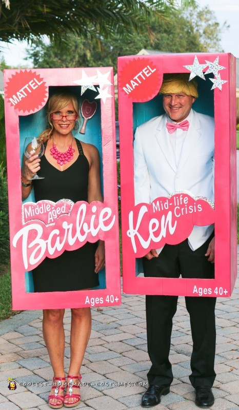 Middle aged Barbie & Ken Halloween costumes for couples