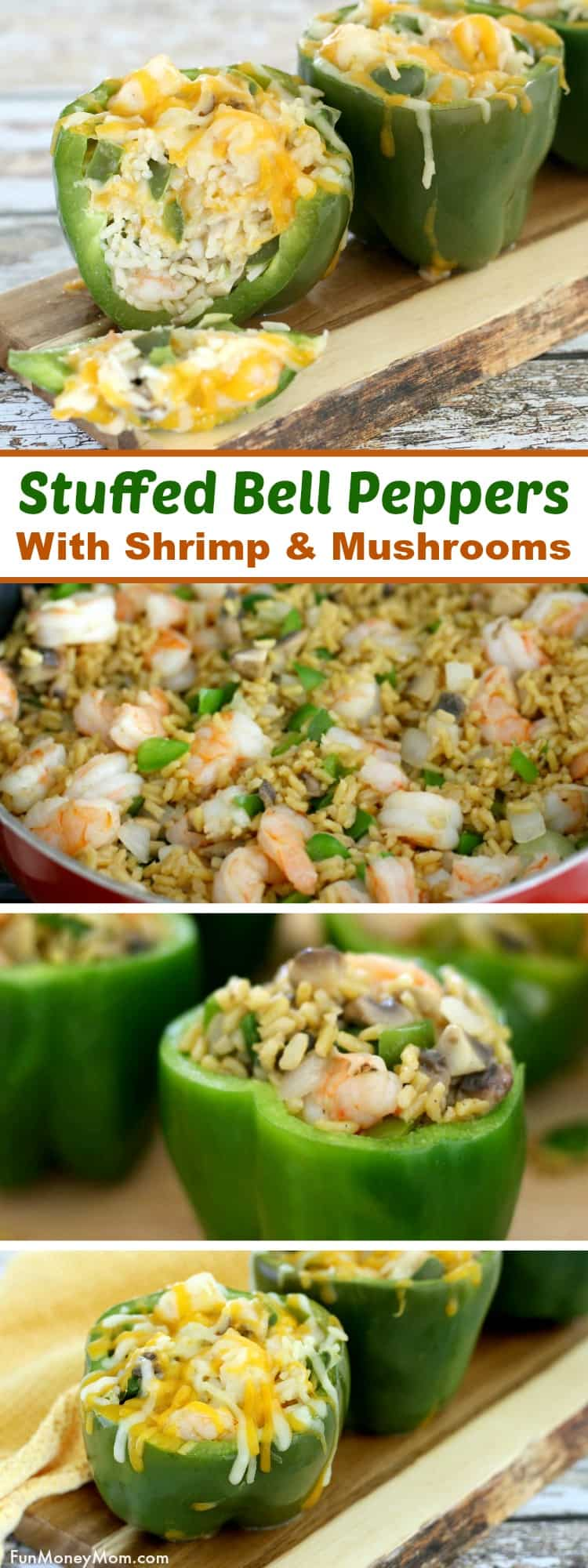 Shrimp Stuffed Peppers - These shrimp stuffed bell peppers with mushrooms and rice make an easy dinner recipe the whole family will love! #stuffedpeppers #shrimpstuffedpeppers #stuffedbellpeppers #easyrecipe #ad