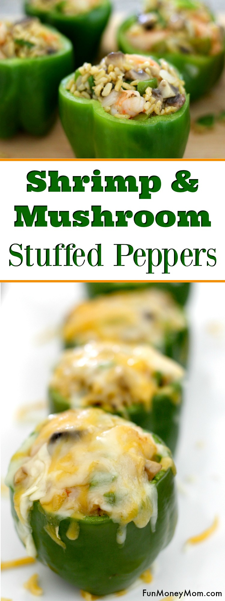 Shrimp Stuffed Peppers - These mushroom and shrimp stuffed bell peppers are an easy dinner recipe for your family dinner. It's a dinner recipes that even the kids can help with, especially if they love shrimp for dinner #ad