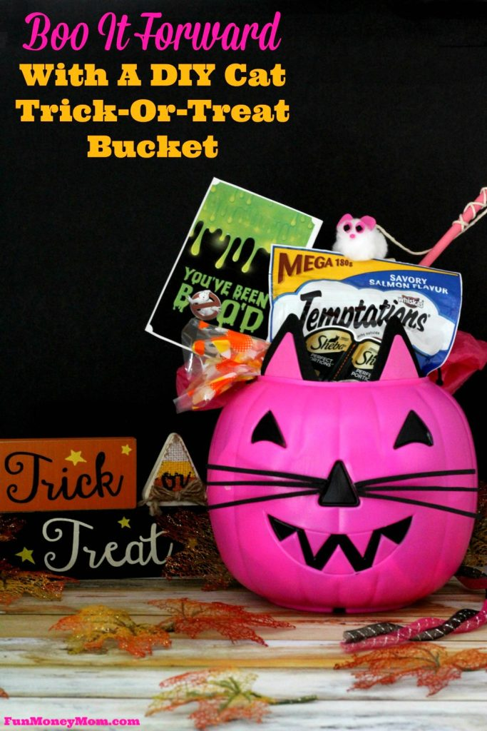 Make Halloween fun for everyone...even our furry friends! BOO It Forward with this DIY Cat Trick-or-Treat Bucket. #BOOItForward #PawfectBOO #ad