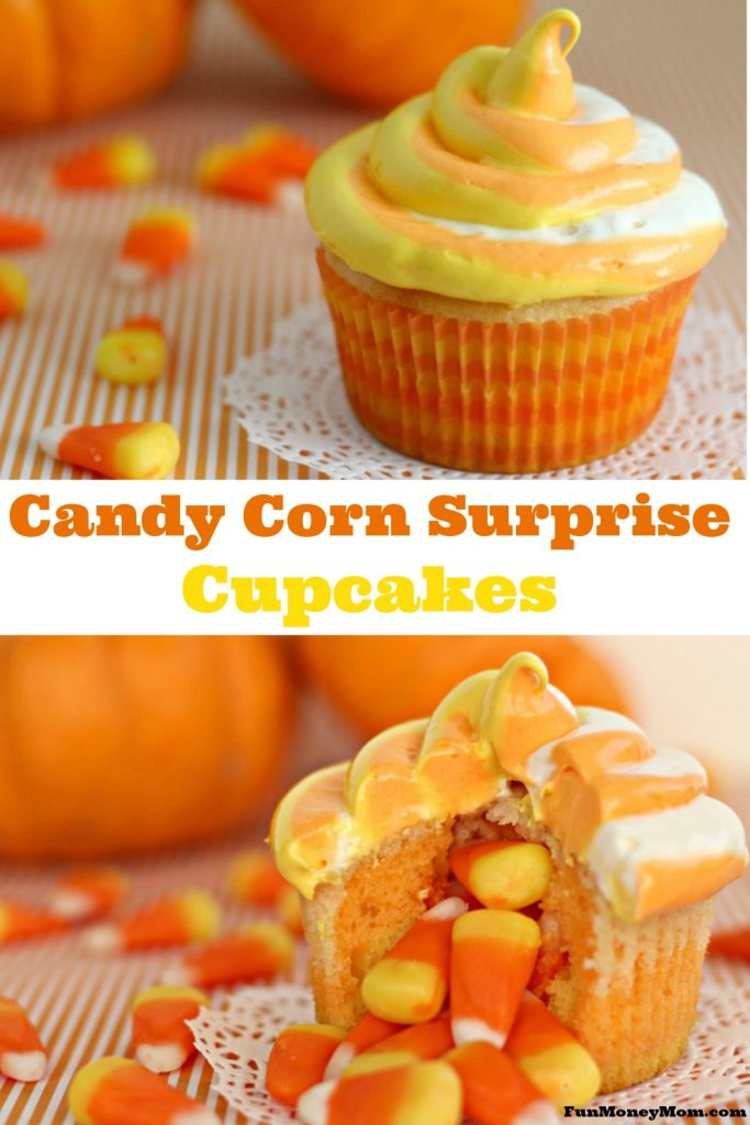 If you like candy corn and you like cupcakes too, you're going to love these candy corn cupcakes with a secret surprise in the middle!