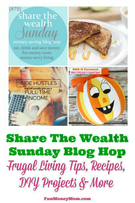 Join us for the Share The Wealth Sunday blog hop (week of 10/22/16) and share your best recipes, DIY projects, crafts, frugal living tips & more...