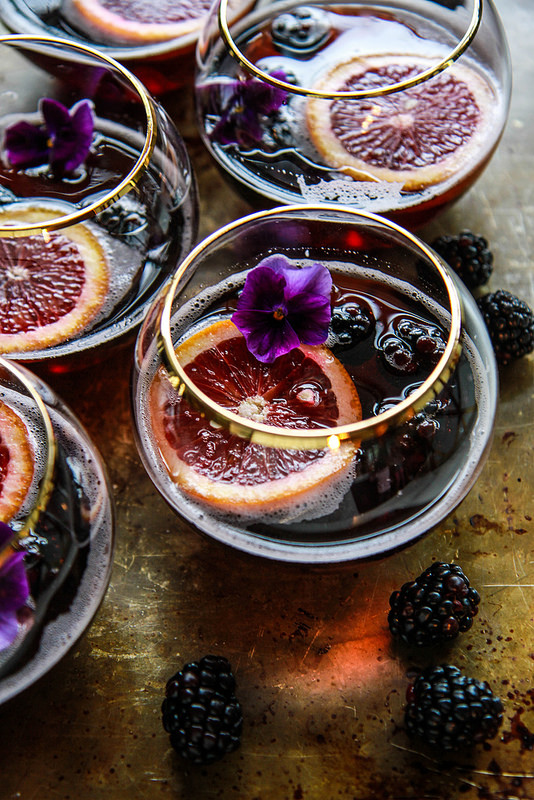 Blood Orange Blackberry Halloween cocktail