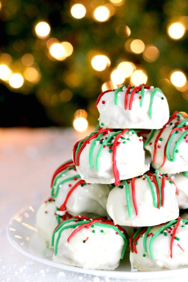 White Chocolate Peanut Butter Christmas Cookies in front of tree