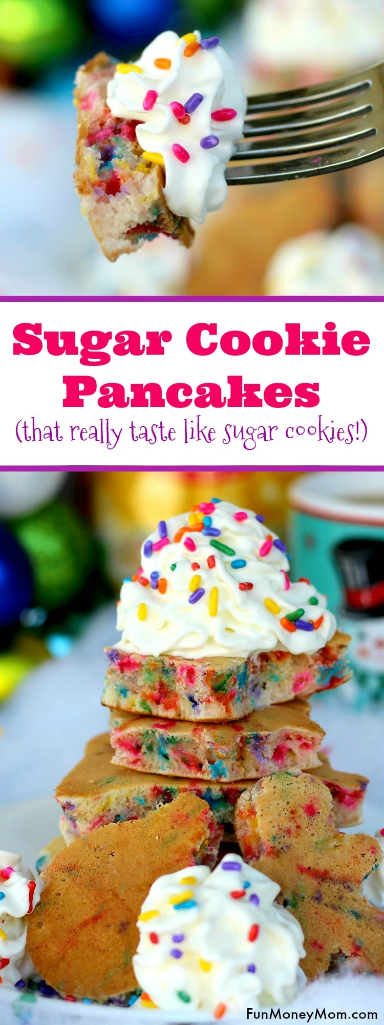 "Want to surprise the kids with a fun Christmas breakfast? They'll love having ""cookies"" for breakfast when you serve these yummy sugar cookie pancakes!"