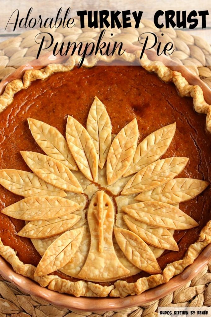 This Turkey Crust Pumpkin Pie is one of the prettiest holiday pies ever