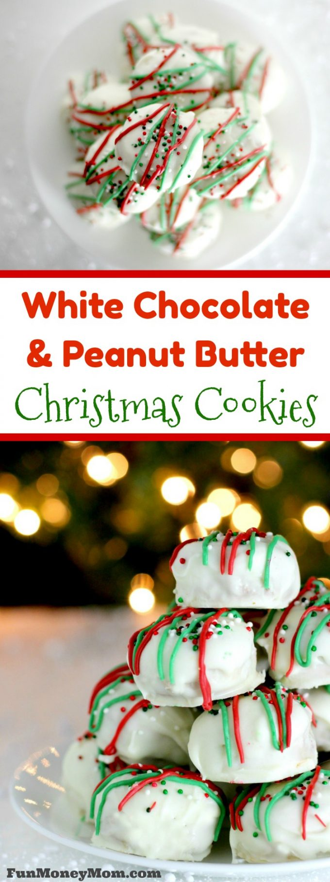 Need cookies for Santa? These white chocolate peanut butter Christmas cookies are perfect for both Santa and any holiday party!