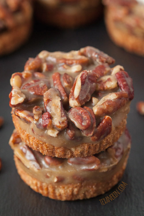 Mini caramel pecan tarts are a fun twist on traditional Thanksgiving desserts
