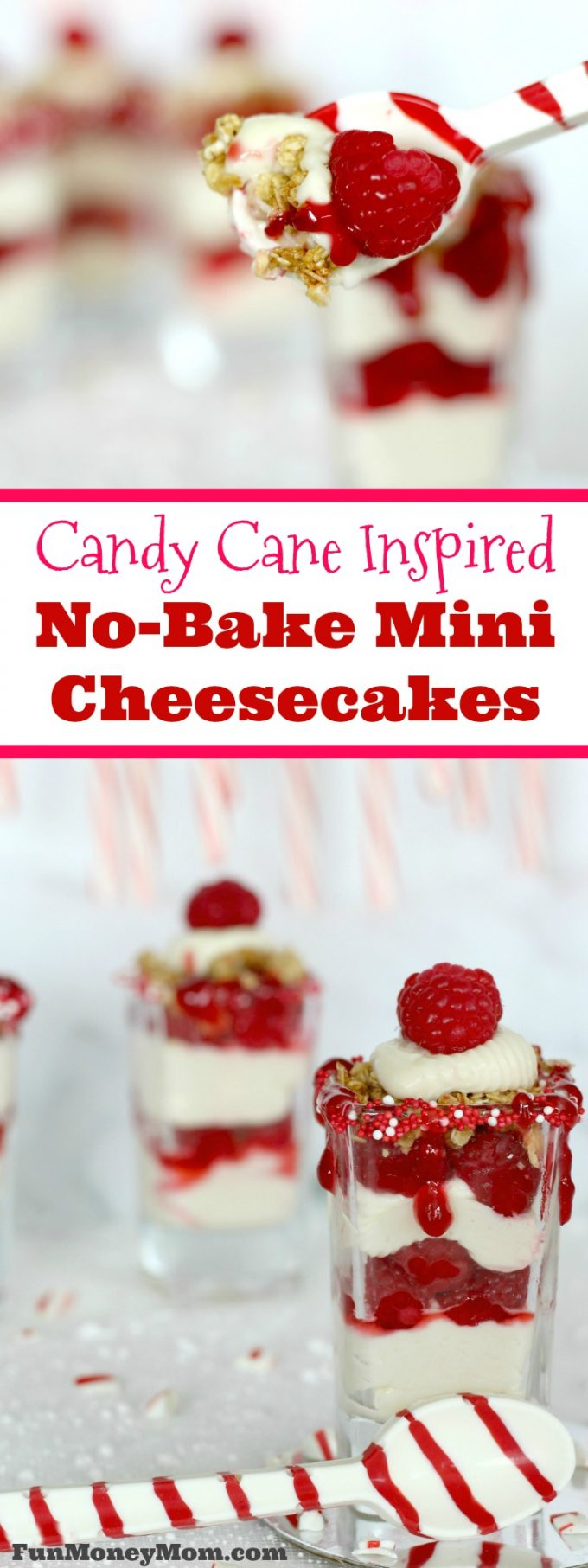 These candy cane inspired mini no-bake cheesecakes are the perfect dessert for your Christmas party.