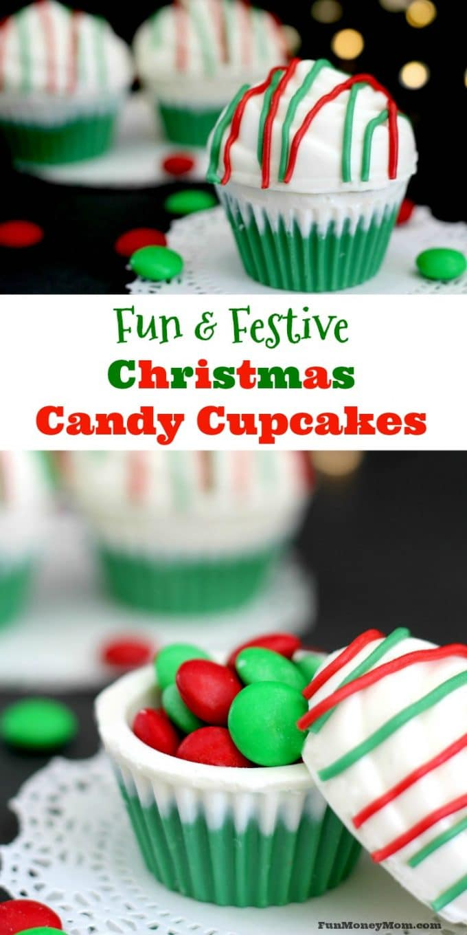 Looking for a fun but super easy treat for Christmas? Why not make some Christmas Candy Cupcakes filled with what else...more candy!