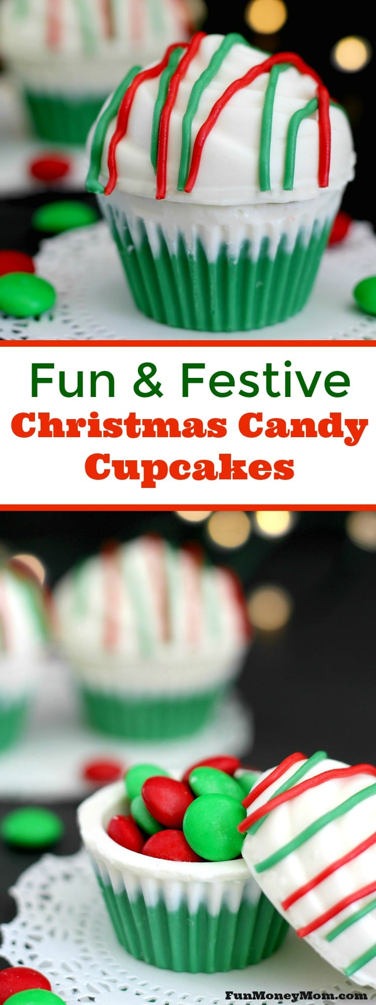 Looking for some fun but super easy Christmas treats? Why not make theseChristmas Candy Cupcakes filled with what else...more candy!