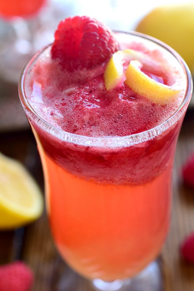 Lemon raspberry champagne float