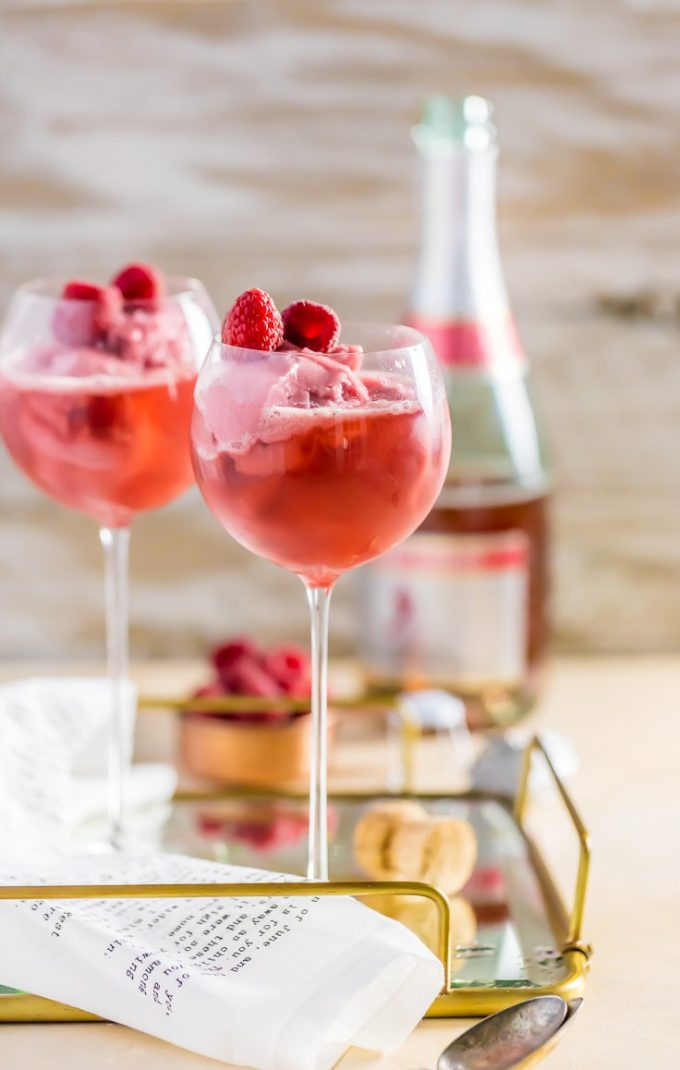 Raspberry pink champagne floats
