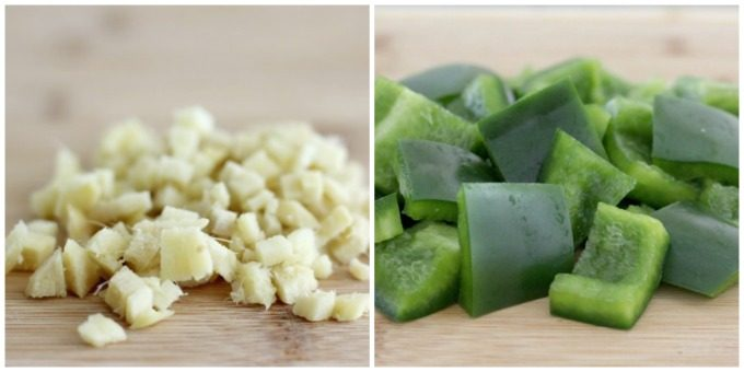 You'll need to cut up some ginger and green pepper for your chicken skewers