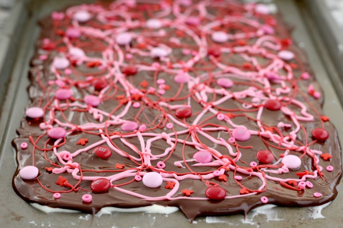 Valentine's Day bark with all the toppings