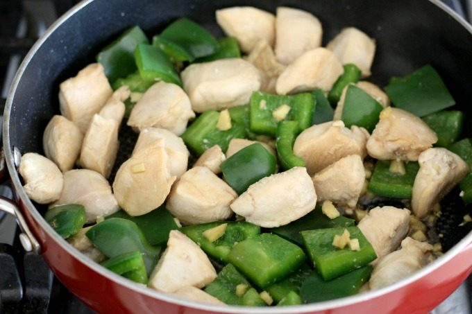 Add the green peppers and ginger for the teriyaki chicken skewers