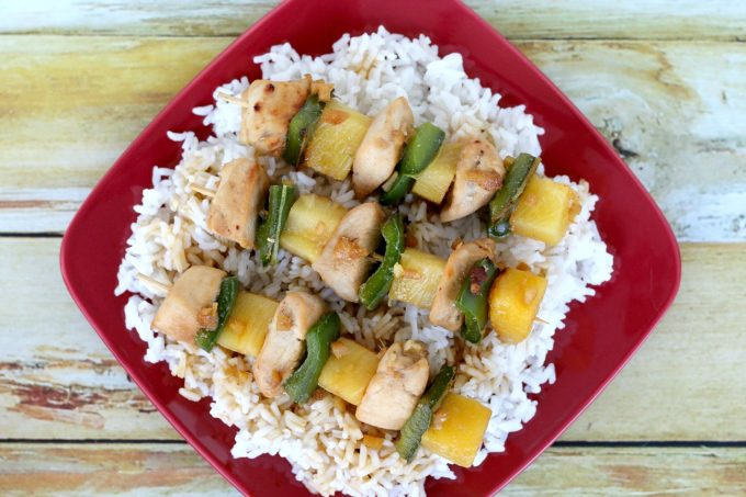 Teriyaki chicken skewers look delicious from any angle