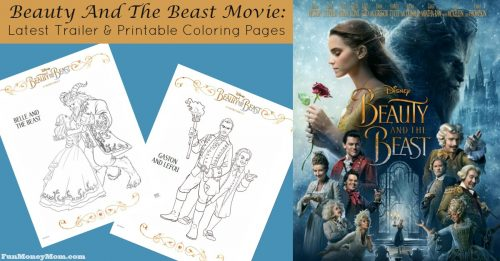 The latest trailer and coloring pages for the Beauty And The Beast Movie facebook