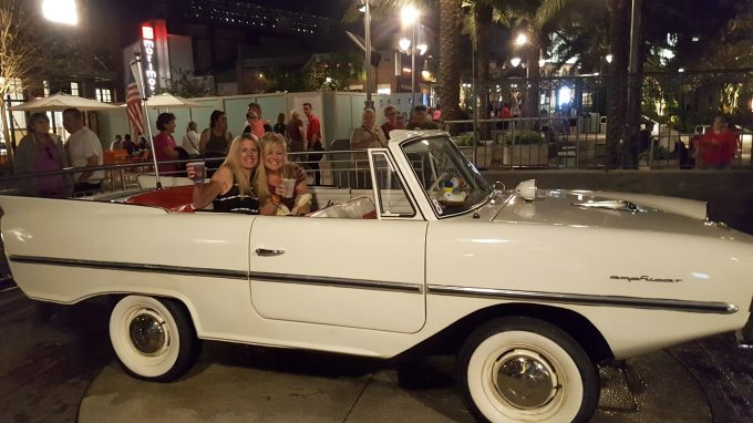 Just two girls and their Amphicar at The Boathouse Restaurant