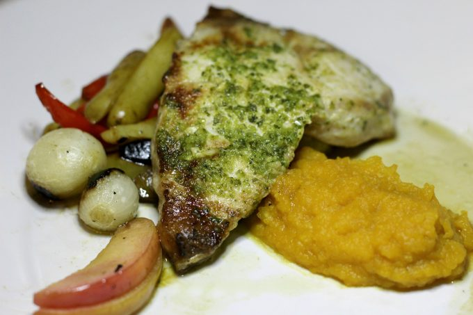 The Swordfish at The Boathouse Restaurant comes with a side of butternut puree