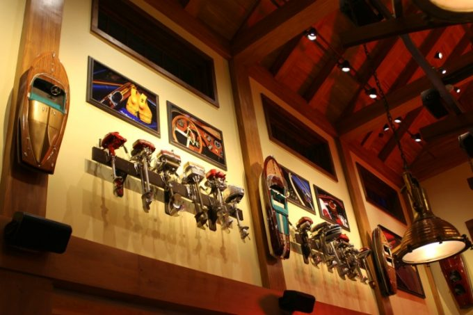 The motors on the wall fit the decor of The Boathouse restaurant