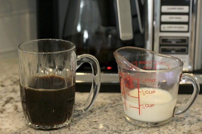 You'll also need milk for your dark chocolate caramel latte