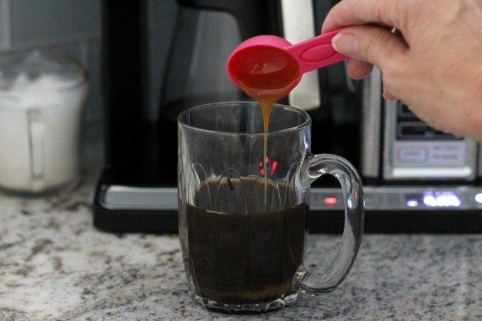 Add the caramel for the dark chocolate caramel latte