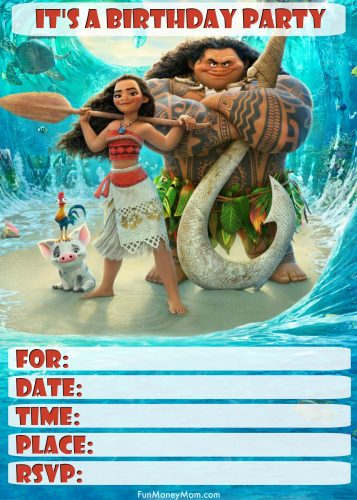 These Moana Birthday Invitation Templates Can Be Edited On Line