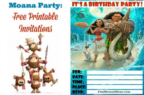Free printable invitations featuring Moana