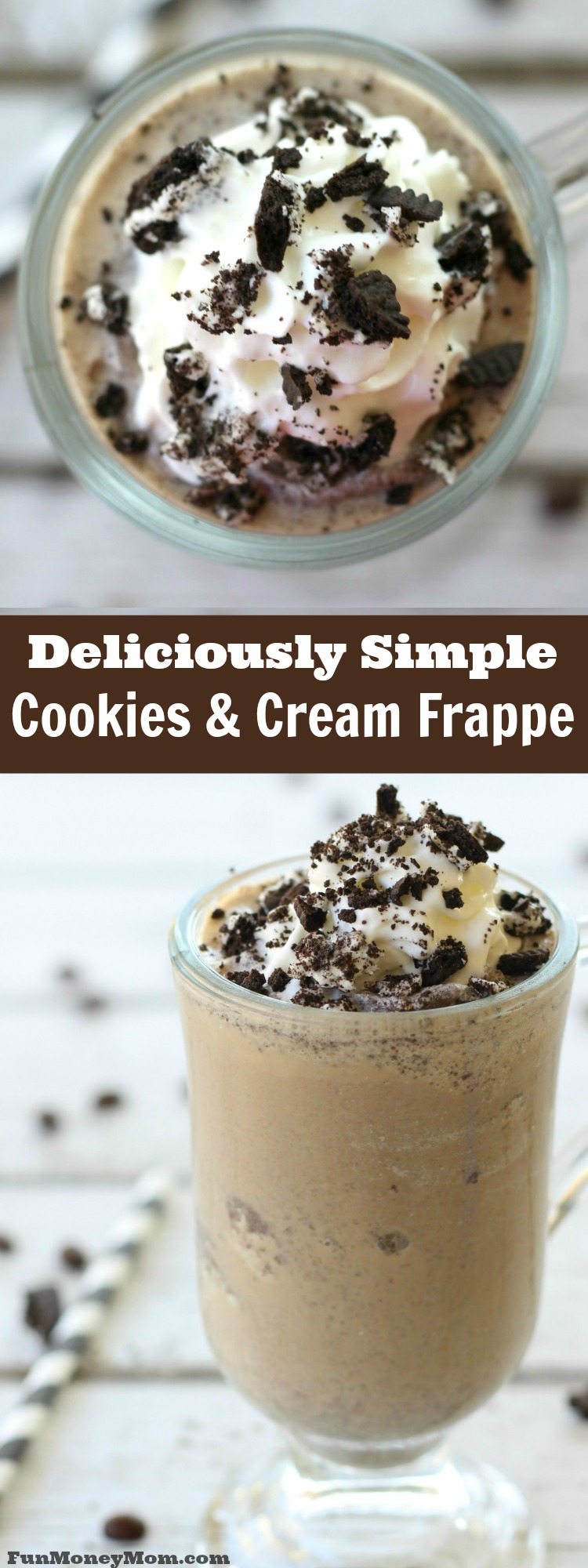 Save money at the coffee shop by making this delicious cookies and cream frappe coffee drink at home!