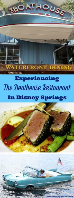 Want to have a fun experience on your next trip to Disney Springs? Take a ride aboard an Amphicar, then dine on delicious seafood at The Boathouse Restaurant