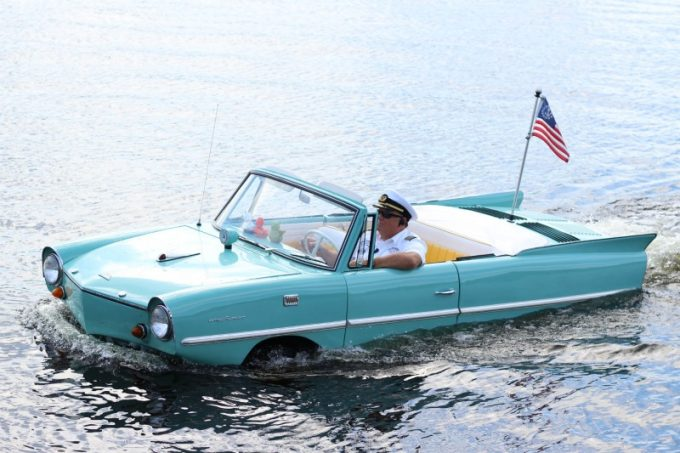 Kids love watching the Amphicar outside The Boathouse Restaurant Disney Springs