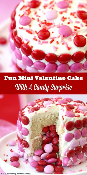 Want a fun Valentine Cake that's just the right size for two? Your sweetheart will love this delicious cake, especially when they discover the fun candy surprise in the middle!