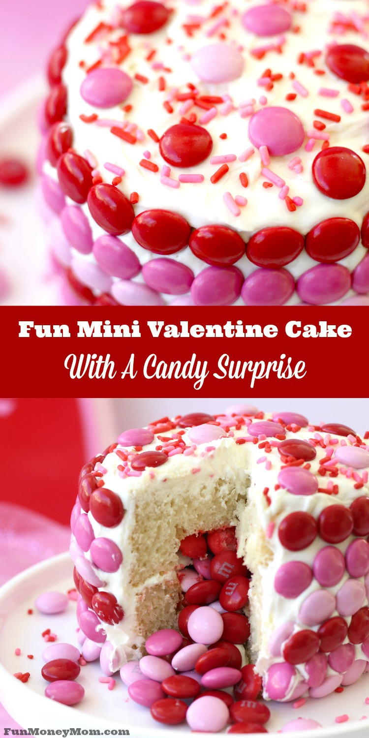 Fun mini valentine cake with a candy surprise.