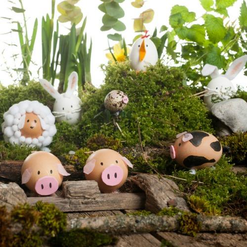 Farm animal Easter egg decorating ideas