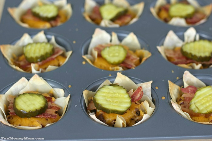 Add bacon and a pickle to your bacon cheeseburger cups