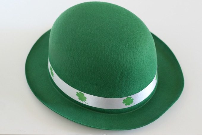 This dollar store hat is the perfect size for a leprechaun trap