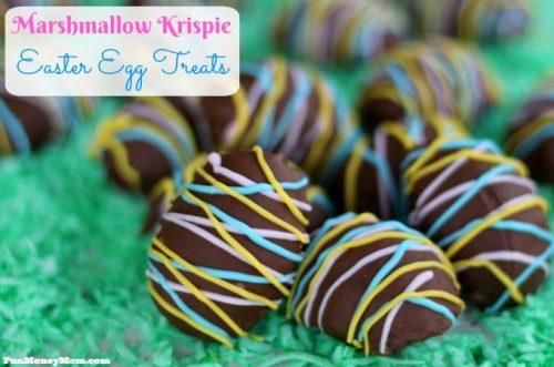 Marshmallow krispie Easter egg treats feature