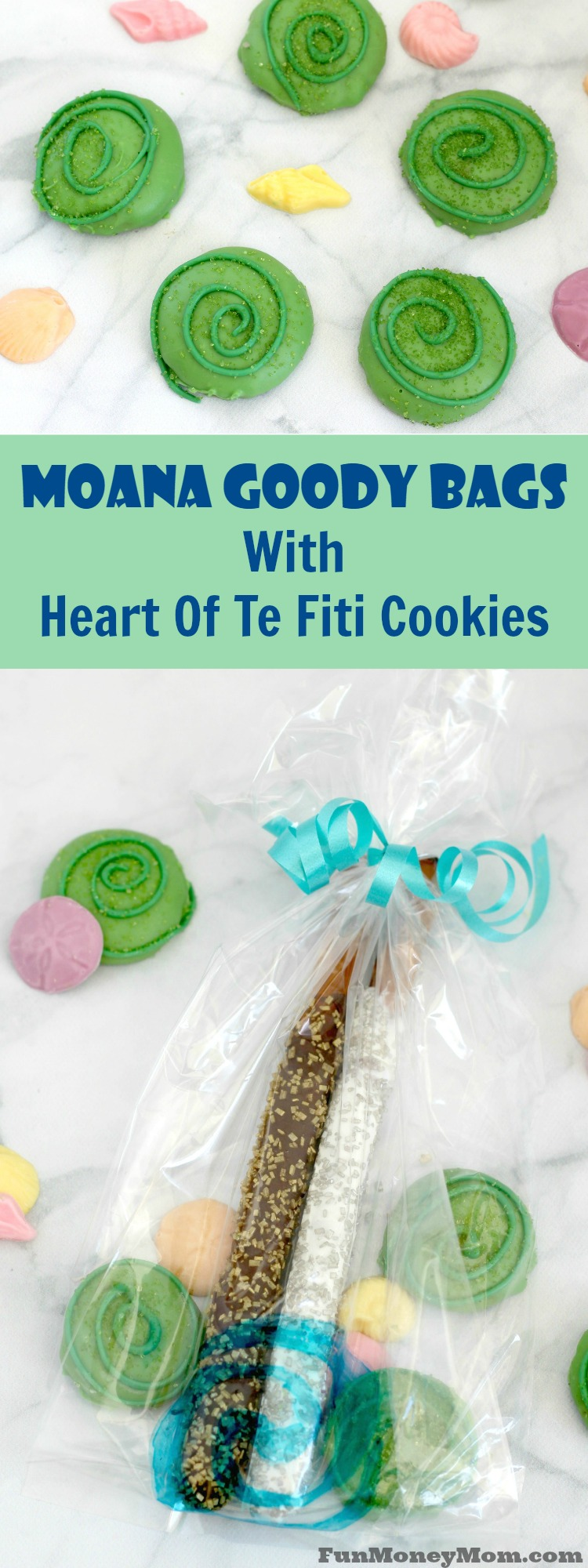 "These Moana goody bags are perfect for your Moana party with Heart of Te Fiti cookies and ""shiny"" stuff for Tamatoa the crab!"