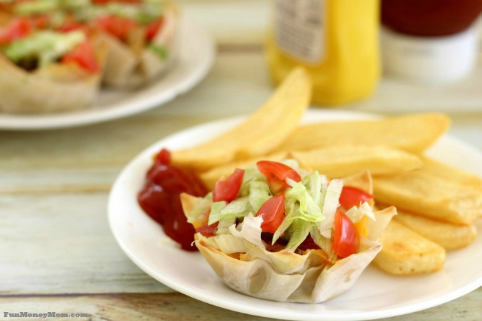 Bacon cheeseburger cups are perfect with fries and a side salad