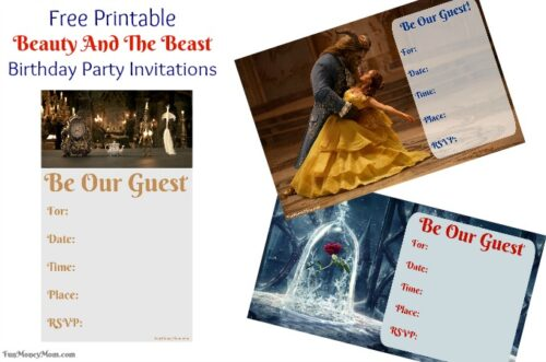 Pretty Beauty and the Beast birthday invitations