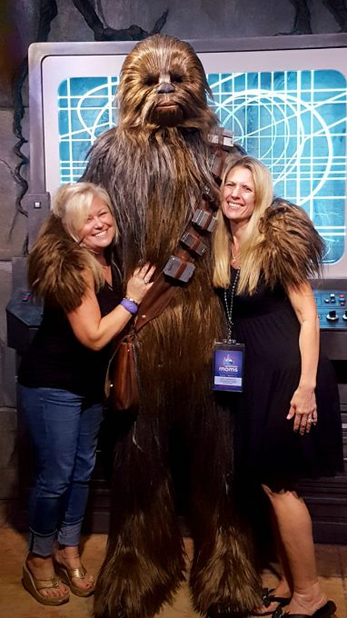 Getting Chewbacca hugs at the Disney Social Media Mom's Celebration 2017