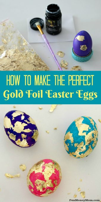 Decorating Easter eggs? Gold foil Easter eggs might look fancy but they're a lot easier to make than you'd think! Use them for something special or your everyday Easter decor.
