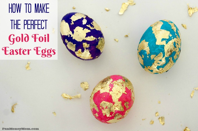Gold foil Easter eggs feature