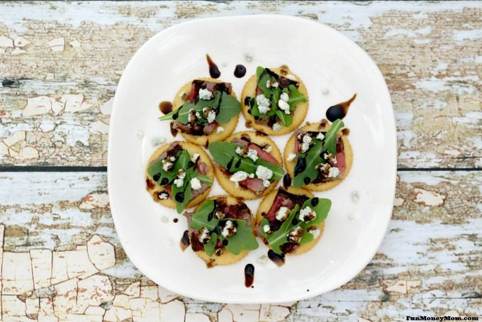 Party Crackers with Steak, Blue Cheese and Arugula look delicious from any angle