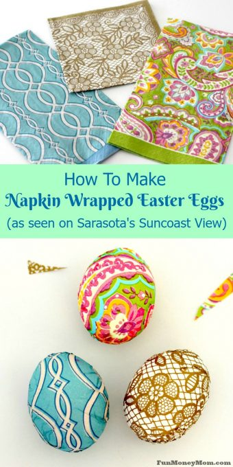 Impress everyone with your awesome Easter egg decorating skills! These Napkin Wrapped Easter Eggs may look complicated but they're easier than you'd think.