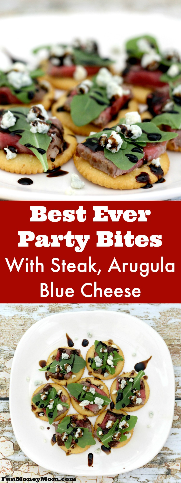 These party crackers with steak, arugula and blue cheese are one of my new favorite party foods! Not only is this an easy appetizer recipe, it's absolutely delicious too! #RITZspiration #ad