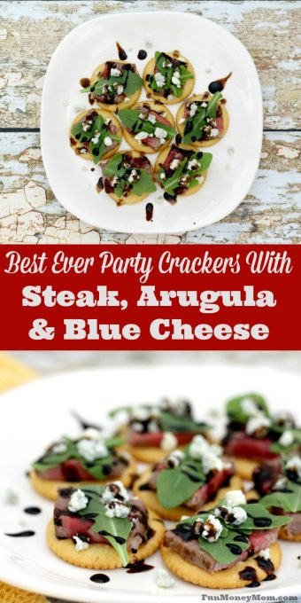 I am loving these party crackers with steak, arugula and blue cheese! Not only is this an easy appetizer recipe, it's absolutely delicious too! #RITZspiration #ad
