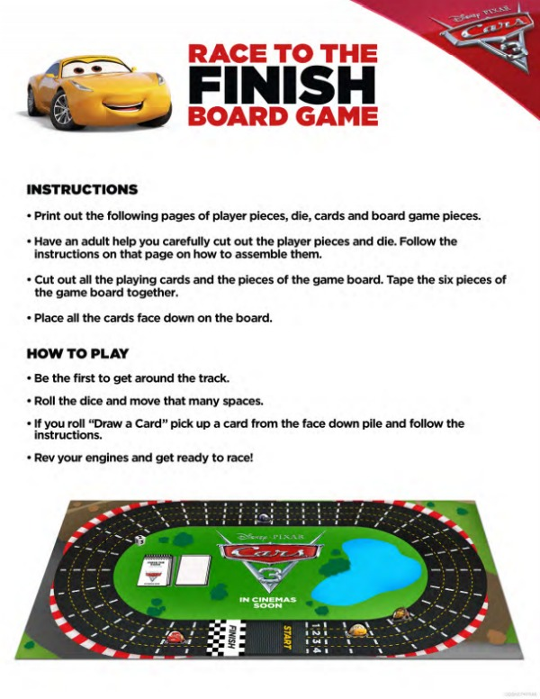 Cars 3 free printables Race To The Finish Board Game